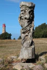 God sculpture Svantevit at the Slavic Jaromarsburg at Cape Arkona - Rügen
