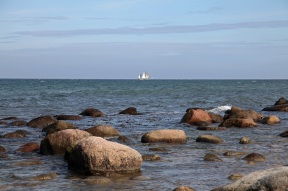 Sailing boat before the west coast of Rügen