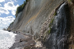 Coastal route from Sassnitz to Lohme - waterfall right at ascent point called Kieler Ufer - Jasmund National Park - Rügen