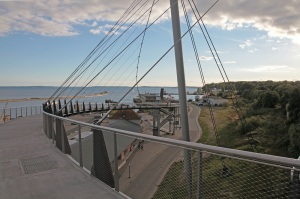 Pedestrian bridge leading down to the harbour of Sassnitz - Island of Rügen