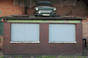 Stralsund - Trabant, fondly known as the 'Trabi' on top of a hot dog kiosk