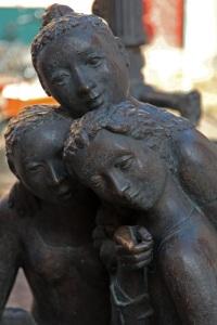 Statue in Stralsund - fountain showing three girls
