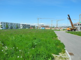 View of new housing development area towards our house in May 2013