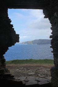 View through the ruins of Hag's Head on the Cliffs of Moher, County Clare, Ireland
