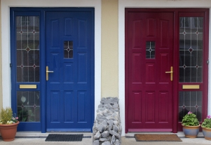 Colourful painted house doors in Enniscrone, County Sligo, Ireland