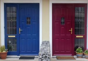 Colourful painted house doors in Enniscrone, County Sligo, Ireland