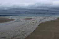 A rainy day at the sandy beach in Enniscrone, County Sligo, Ireland