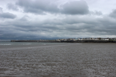 View from the beach on the town of Enniscrone, County Sligo, Ireland on a rainy day