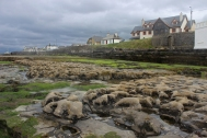 Low tide on a rainy day in Enniscrone, County Sligo, Ireland