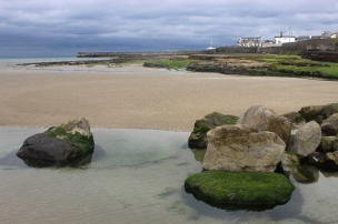 Low tide on a rainy day in Enniscrone, County Sligo, IrelandEnniscrone, County Sligo, Ireland