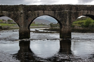 The Crana River, with the six arched Castle Bridge spanning it, County Donegal, Ireland