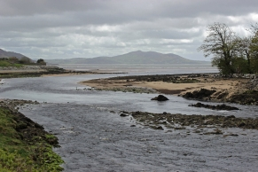 The mouth of the Crana river, which flows into Lough Swilly, County Donegal, Ireland