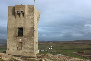 The Tower on Malin Head (Irish: Cionn Mhálanna) on the Inishowen Peninsula, County Donegal, Ireland