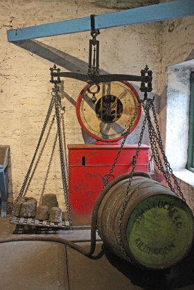 Kilbeggan Irish Whiskey Distillery - filling and weighing apparatus