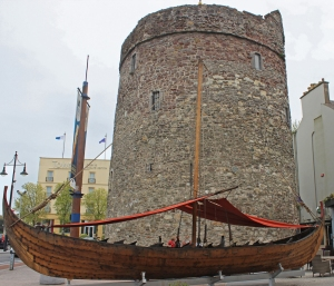Viking Boat before Reginald's Tower, Waterford, Ireland