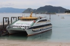 Mar de Ons boat on Islas Cies, Galicia, Spain