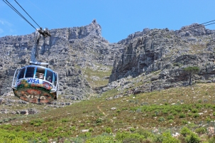 The Table Mountain Aerial Cableway on its way to the upper cable station; South Africa