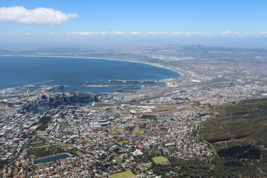 View from Table Mountain over Cape Town, South Africa