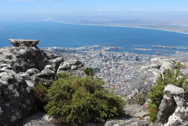 View from Table Mountain over Cape Town with Stadium and Waterfront, South Africa