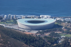 Tele-view on Cape Town Stadium from Table Mountain, South Africa