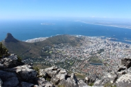 View over Cape Town with Lion's Head from Table Mountain, South Africa