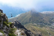The Table Mountain Aerial Cableway, View over Lion's Head and Cape Town from the top of Table Mountain, South Africa