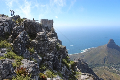 The Table Mountain Aerial Cableway, view from the top of Table Mountain over Lion's Head, South Africa
