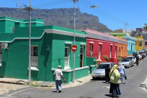 Bo-Kaap, formerly known as the Malay Quarter, Cape Town, South Africa; Table Mountain in the background