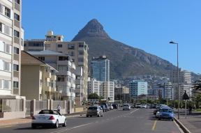 Beach Road in Cape Town with Lion's Head, South Africa