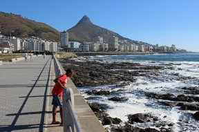 Sea Point Promenade in Cape Town with Lion's Head, South Africa