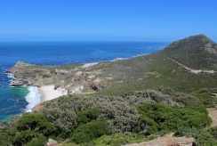 View from the area below Old Cape Point Lighthouse on Diaz Beach and Cape Point Lower Funicular, South Africa