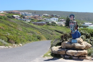 Replica Figurehead from shipwrecked French Barque Marie Elise at the Lighthouse, L'Agulhas, Western Cape, South Africa