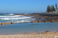 Beach in Mossel Bay (Afrikaans: Mosselbaai), a harbour town of about 130,000 people on the Southern Cape (Garden Route) of South Africa