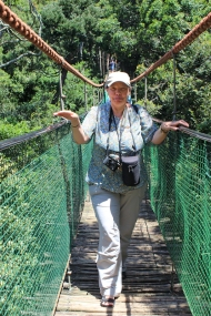 On rope bridge in Monkeyland - South Africa