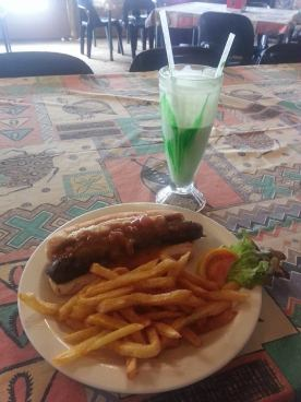 Boerewors Roll and Creme Soda Milkshake