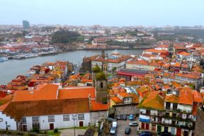 View over Porto and Vila Nova de Gaia with Douro river