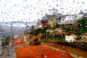 rainy view from inside of the cable car Porto