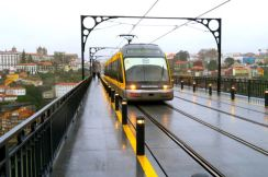 Metro train on the Dom Luís I bridge in Porto