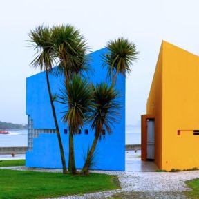 Public Toilets next to the Carlos Roeder Square at the Lighthouse of Praia da Barra, Farol de Aveiro, Barra beach, Portugal, Silver Coast