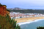 Farol da Nazare, Lighthouse of Nazare, and Forte de Sao Miguel Arcanjo, Fort of Archangel Saint Michael, of Praia Nazare, Nazare beach and Nazare, Silver Coast, Portugal