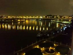 View from our room in the Pestana Palacio do Freixo Hotel by night over the river Douro