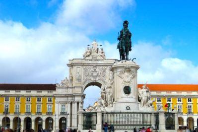Praça do Comércio, Commerce Square, King Jose 1 Statue, Arco Triunfal da Rua Augusta, Triumphal Arch of Augusta Street, Lisbon, Lisboa, Portugal