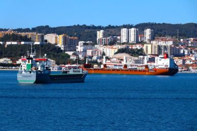 View of Setubal from the ferry going to Troia, Sado Estuary, Setubal, Troia, Portugal